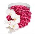 Букет №29 из розовых роз и белой орхидеи (50 роз)