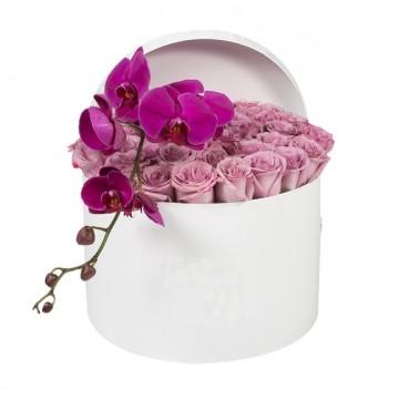 Букет №10  из нежных роз и пурпурной орхидеи (30 роз)