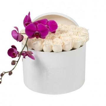 Букет №16  из белых роз и пурпурной орхидеи (30 роз)