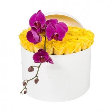 Букет №27 из желтых роз и пурпурной орхидеи (50 роз)