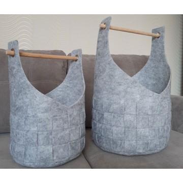 Набор плетеных корзин из фетра 2шт.