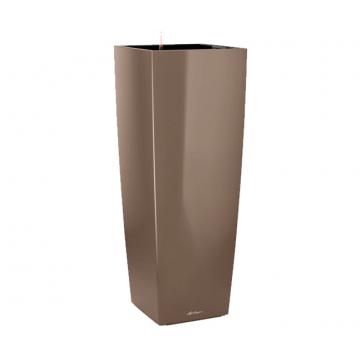 Вазон Cubico Alto серо-коричневый глянец (с кашпо и гидросистемой)